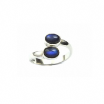 Double stone Rainbow Moonstone Ring Oval